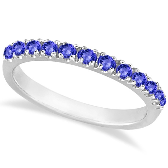 Tanzanite Stackable Band Anniversary Ring Guard 14k White Gold (0.38ct) by