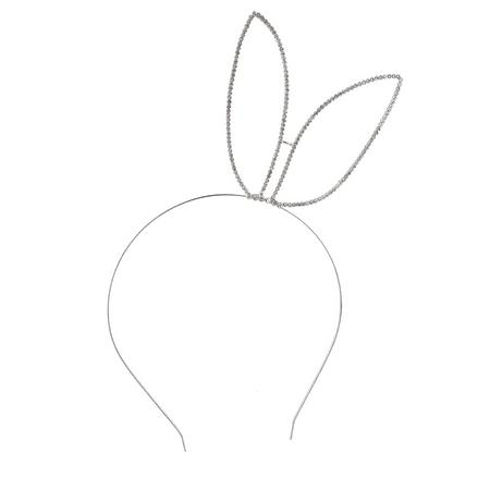 Lux Accessories Silvertone Rhinestone Side Bunny Ears Wire Fashion Headband (Bunny Headbands)