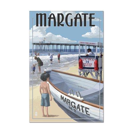 Margate, New Jersey - Lifeguard Stand - Lantern Press Poster (8x12 Acrylic Wall Art Gallery Quality)