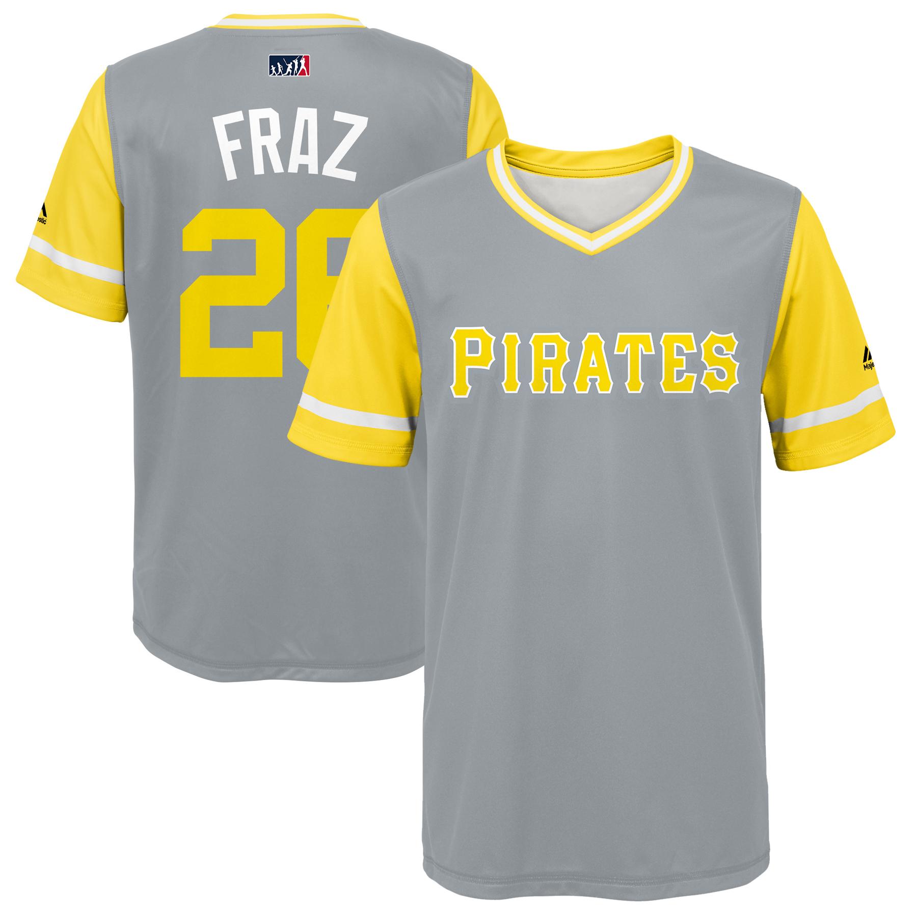 "Adam Frazier ""Fraz"" Pittsburgh Pirates Majestic Youth 2018 Players' Weekend Jersey - Gray/Yellow"