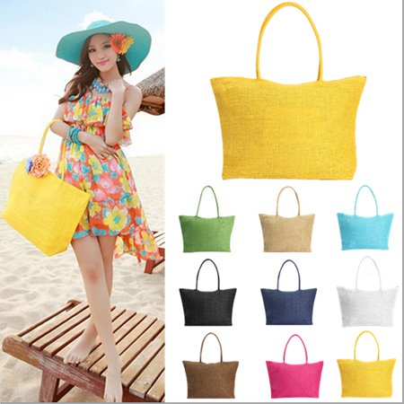 Women Straw Weave Shoulder Lady Beach Purse Handbag Tote Shopping Bag