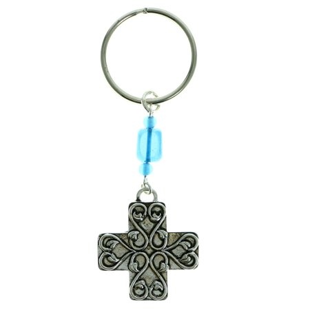 Cross Keychain (Cross Keychain With Blue Bead Accents)