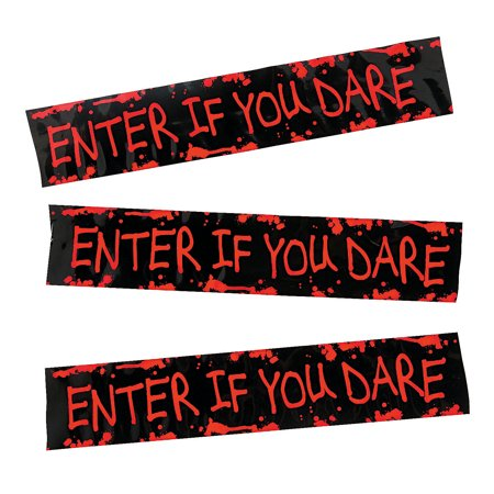 Fun Express - Enter If You Dare Roll Tape for Halloween - Party Decor - Hanging Decor - Streamers - Halloween - 1 Piece - Holloween Express