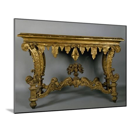 Baroque Style Carved and Gilt Console Table with Imitation Marble Spruce Top, Italy Wood Mounted Print Wall Art