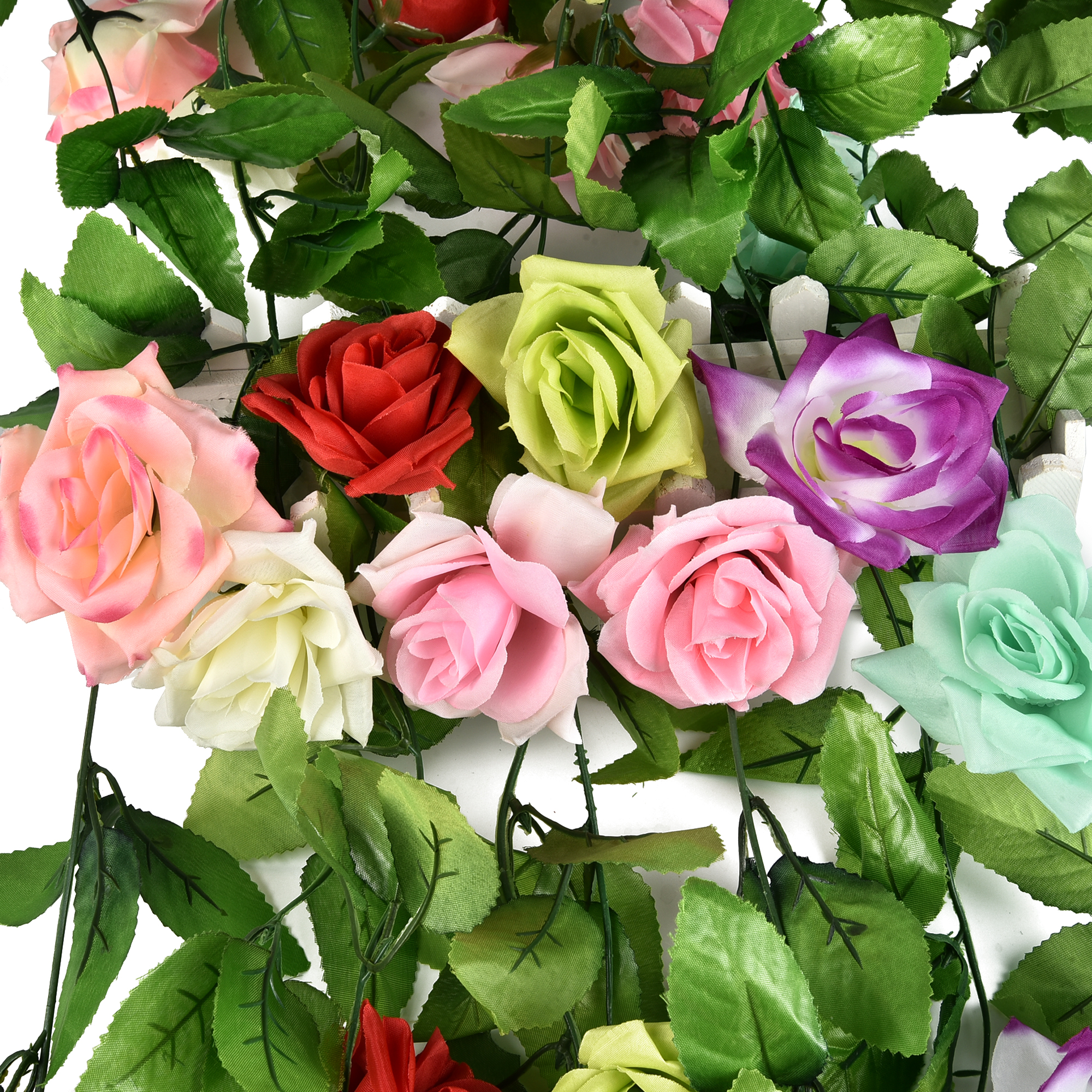 Cuh Artificial Rose Flower Garland Silk Vine For Home Wedding Garden Party Decoration