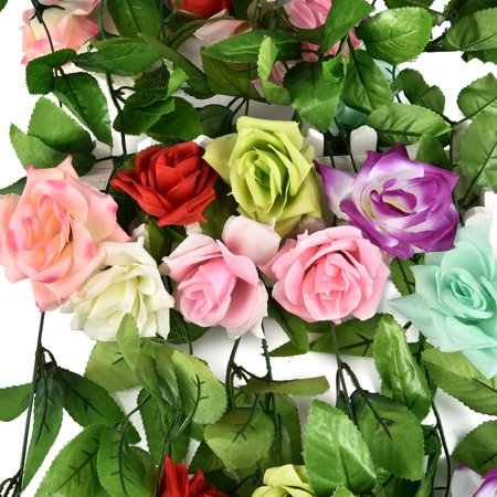 CUH Artificial Rose Flower Garland Silk Flower Vine for Home Wedding Garden Party Decoration](Girls Vine)