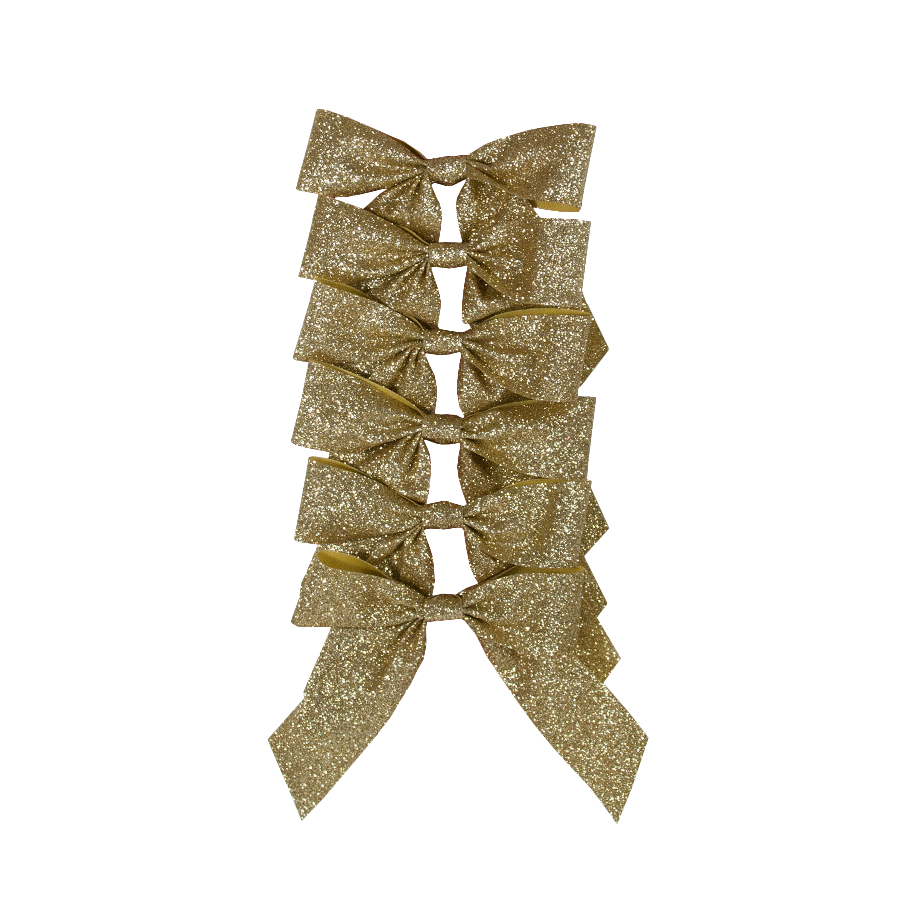 HOLIDAY TIME GOLD GLITTER BOWS, 6 COUNT