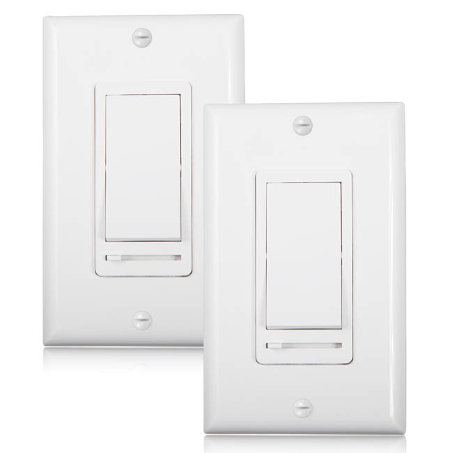 Maxxima 3-Way Single Pole Decorative LED Slide Dimmer Rocker Switch, Wall Plate Included... by Maxxima