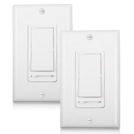 Fitting Dimmer Switch (Maxxima 3-Way/Single Pole Decorative LED Slide Dimmer Rocker Switch, Wall Plate Included (Pack of 2) )