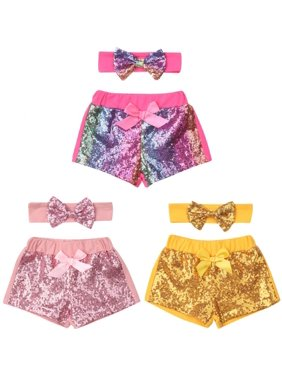 Kids Baby Girl Bow Knot Party Shorts Bottoms Sequin Pants Summer for Newborn Baby Girl Infant Children Clothes Kid Clothing