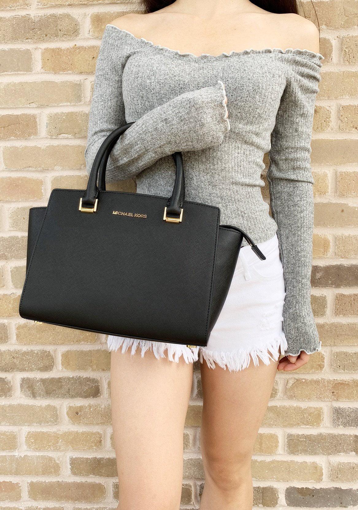 cd9d4e21b85d ... inexpensive michael kors selma medium satchel crossbody black saffiano  leather walmart 20c29 dd99c