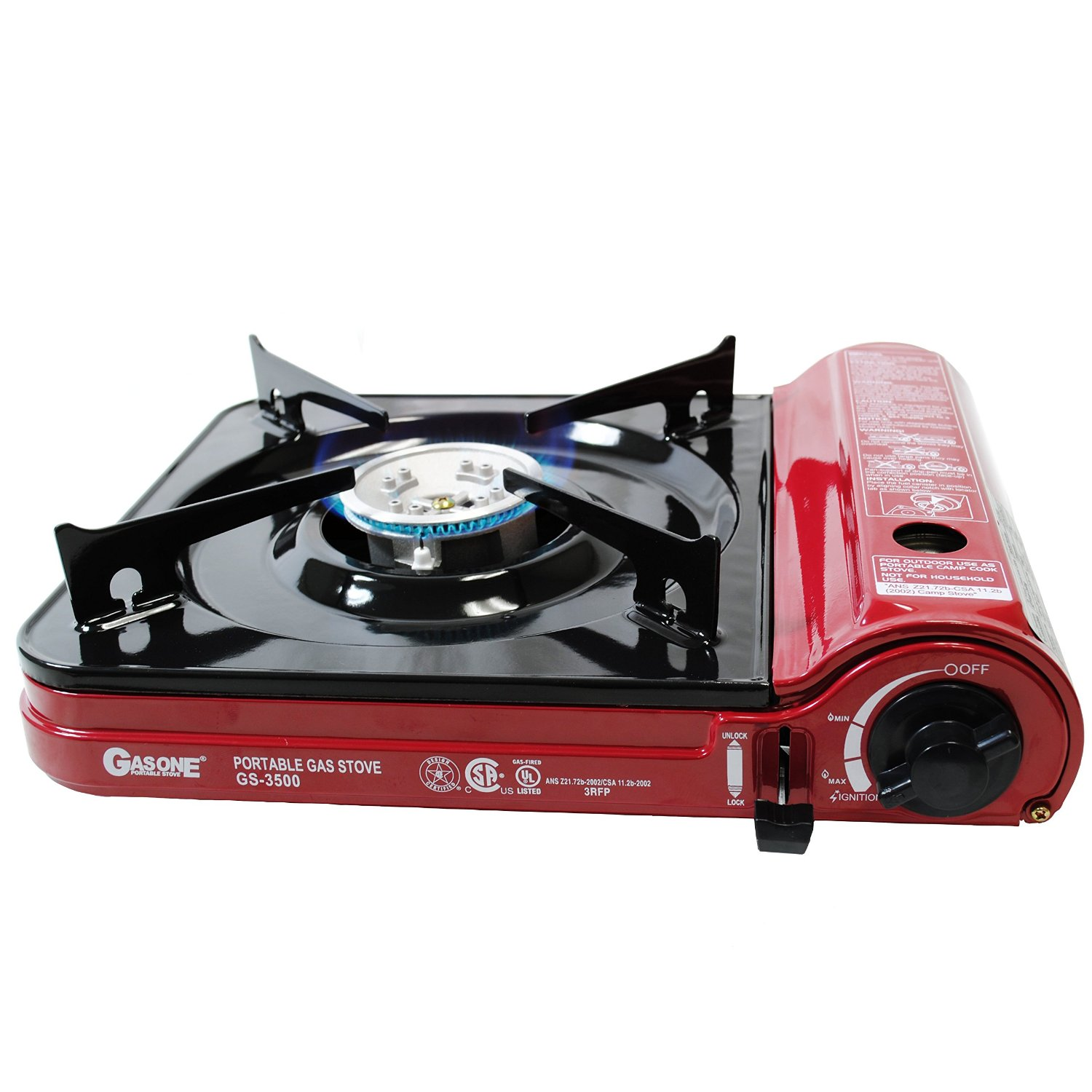 GAS ONE NEW GS-3500 Portable Butane Gas Stove UL/CSA Listed with Colorbox/Carrying Case perfect - Multi-Purpose Stove for Hiking, Camping and Emergency Preparedness