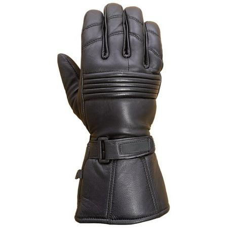 Premium Leather Long Gauntlet Motorcycle Biker Riding Winter Gloves Black G12 (S) - Gauntlet Gloves