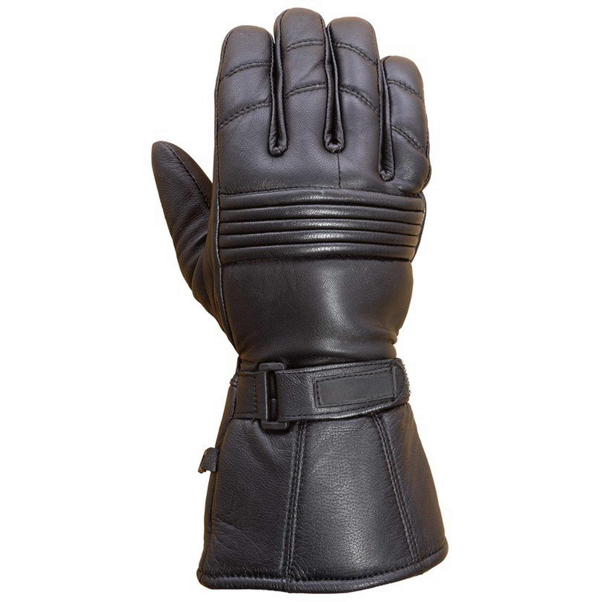 Premium Leather Long Gauntlet Motorcycle Biker Riding Winter Gloves Black G12 (S)