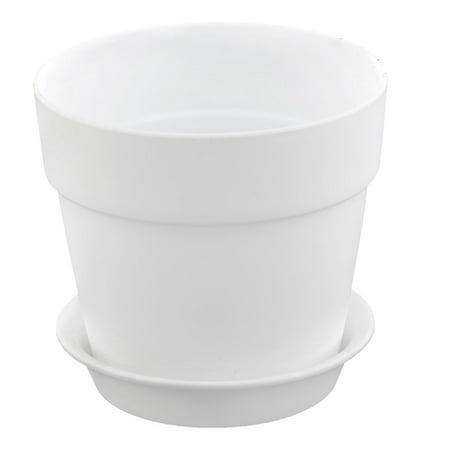 White Plastic Pot - Home Garden Plastic Gardening Round Design Plant Flower Planter Pot Tray White