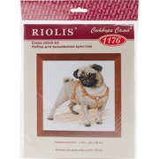 """Pug Dog Counted Cross-Stitch Kit, 9.75"""" x 9.75"""", 14-Count"""