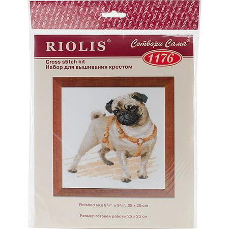 Pug Dog Counted Cross-Stitch Kit, 9.75