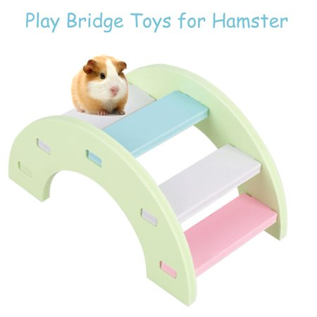WALFRONT Wooden Hamster Play Bridge Toys Rainbow Seesaw Activity Cage for Pet Guinea Pig Mice (Pink/Green) (Guinea Pig Play Huts)