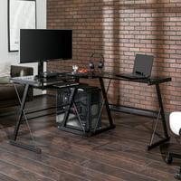 Walker Edison Glass and Metal L-Shaped Computer Desk - Black