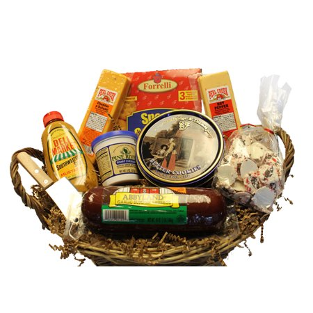 10-Piece Picnic Party Gourmet Summer Sausage and Cheese Gift Basket-Medium