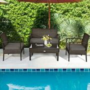Gymax 4PCS Patio Garden Outdoor Rattan Wicker Furniture Set Brown