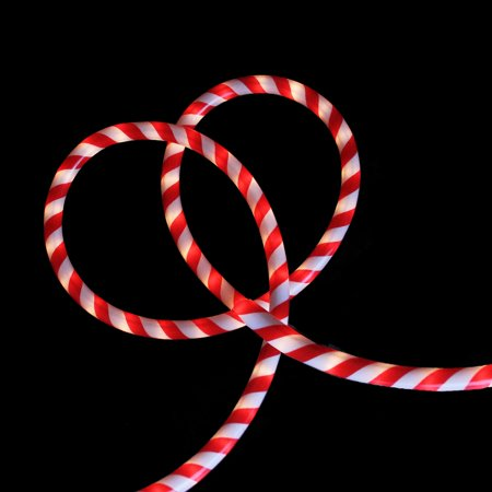 18' Red and White Candy Cane Stripe Indoor/Outdoor Christmas Rope Lights