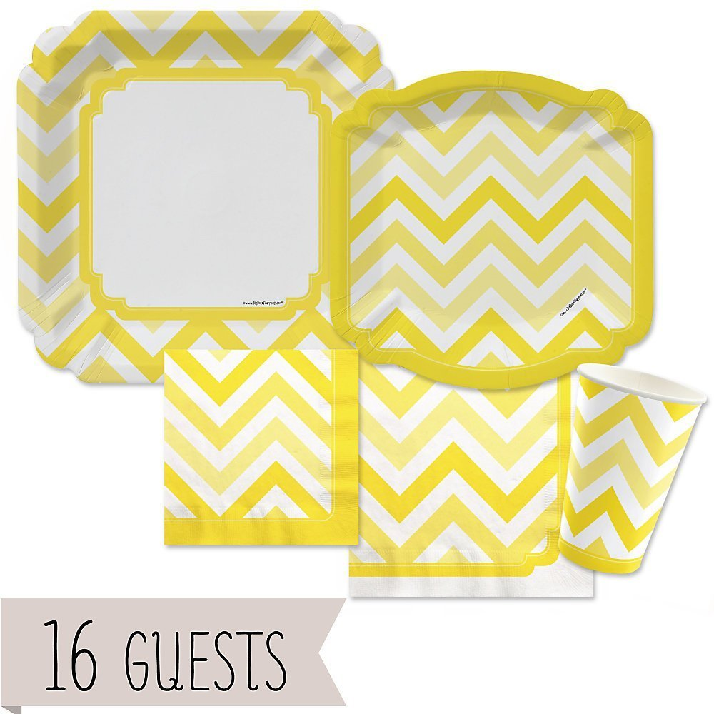 Chevron Yellow - Party Tableware Plates, Cups, Napkins - Bundle for 16