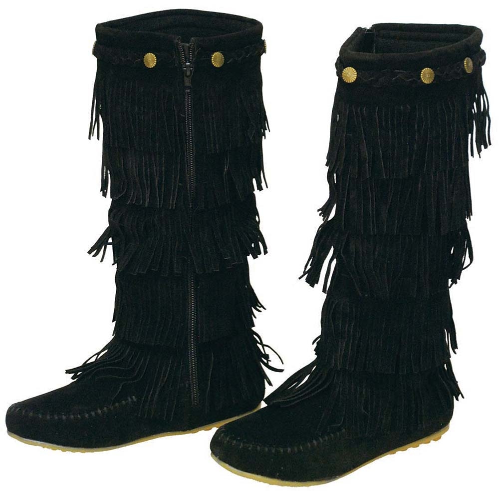 Jamin' Leather Black 4 Row Fringed Moccasin Boots #BLC322...
