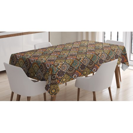 Moroccan Tablecloth, Ethnic Mexican Ornaments with Abstract Artistic Old Fashioned Mandala Checkered, Rectangular Table Cover for Dining Room Kitchen, 52 X 70 Inches, Multicolor, by - Checkered Table Covers