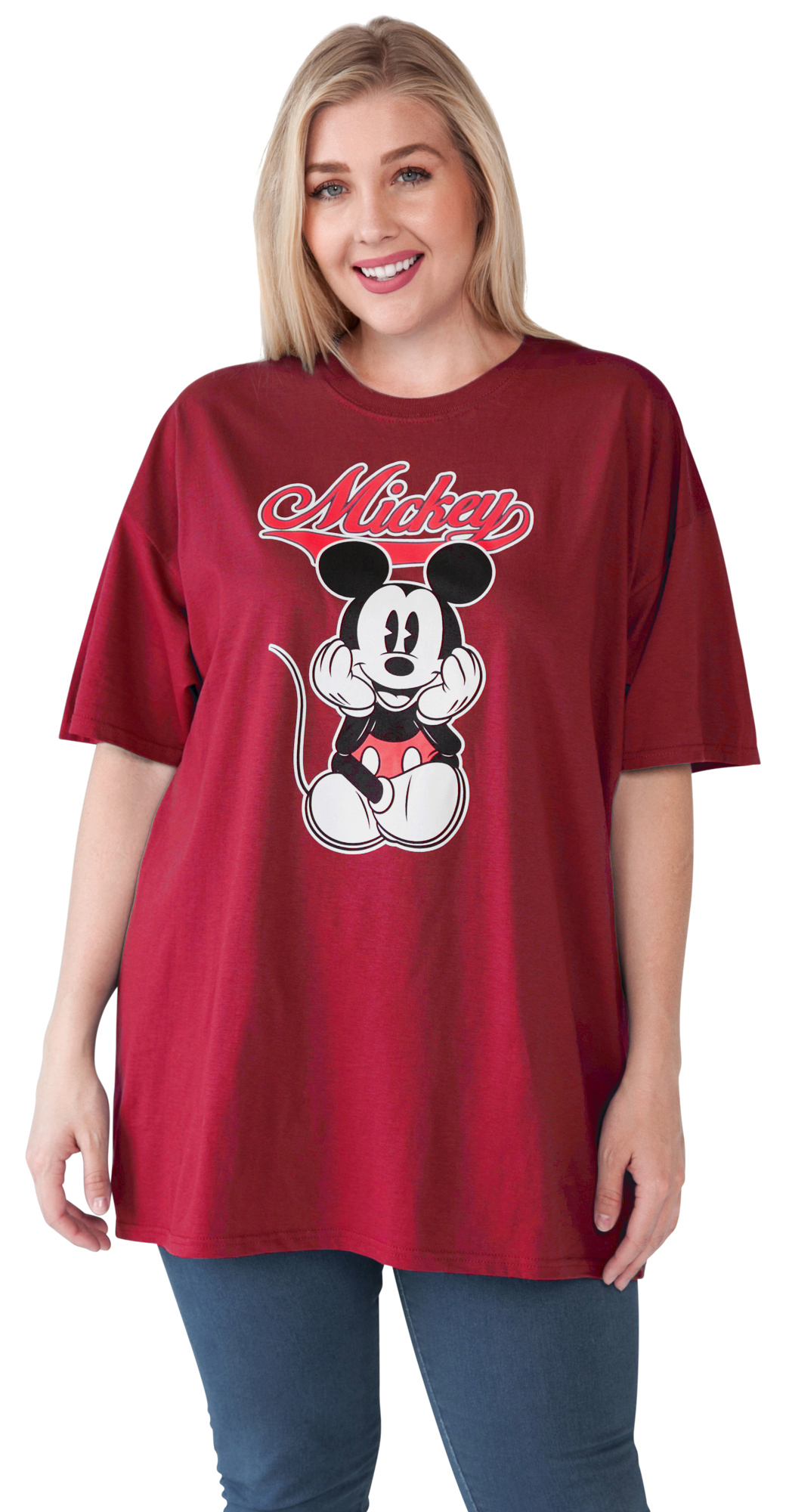 Women s Plus Size Mickey Mouse Varsity T-Shirt - Red 72d5aef363