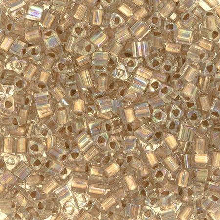 Size 8 Toho Triangle Beads, Gold Lined Crystal AB (1 ounce)