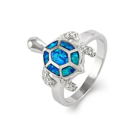 Sterling Silver Opal Sea Turtle Ring