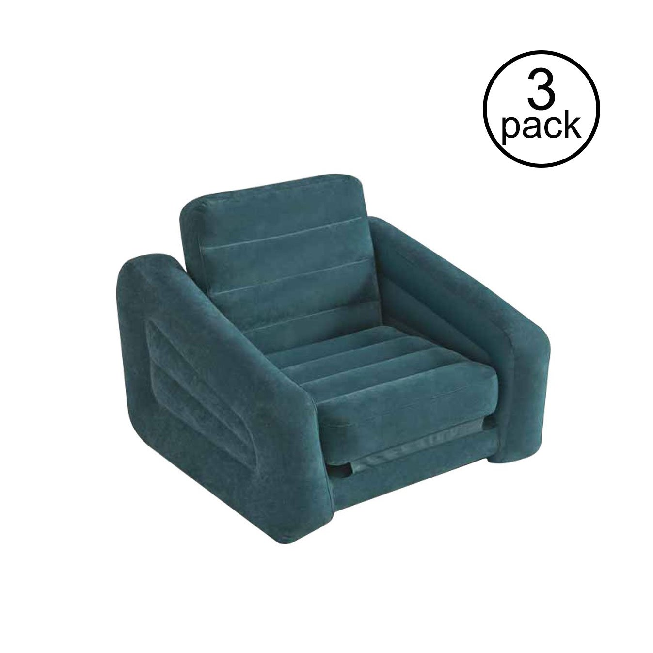 Merveilleux Intex Inflatable Pull Out Chair Seat And Twin Bed Air Mattress Sleeper (3  Pack)