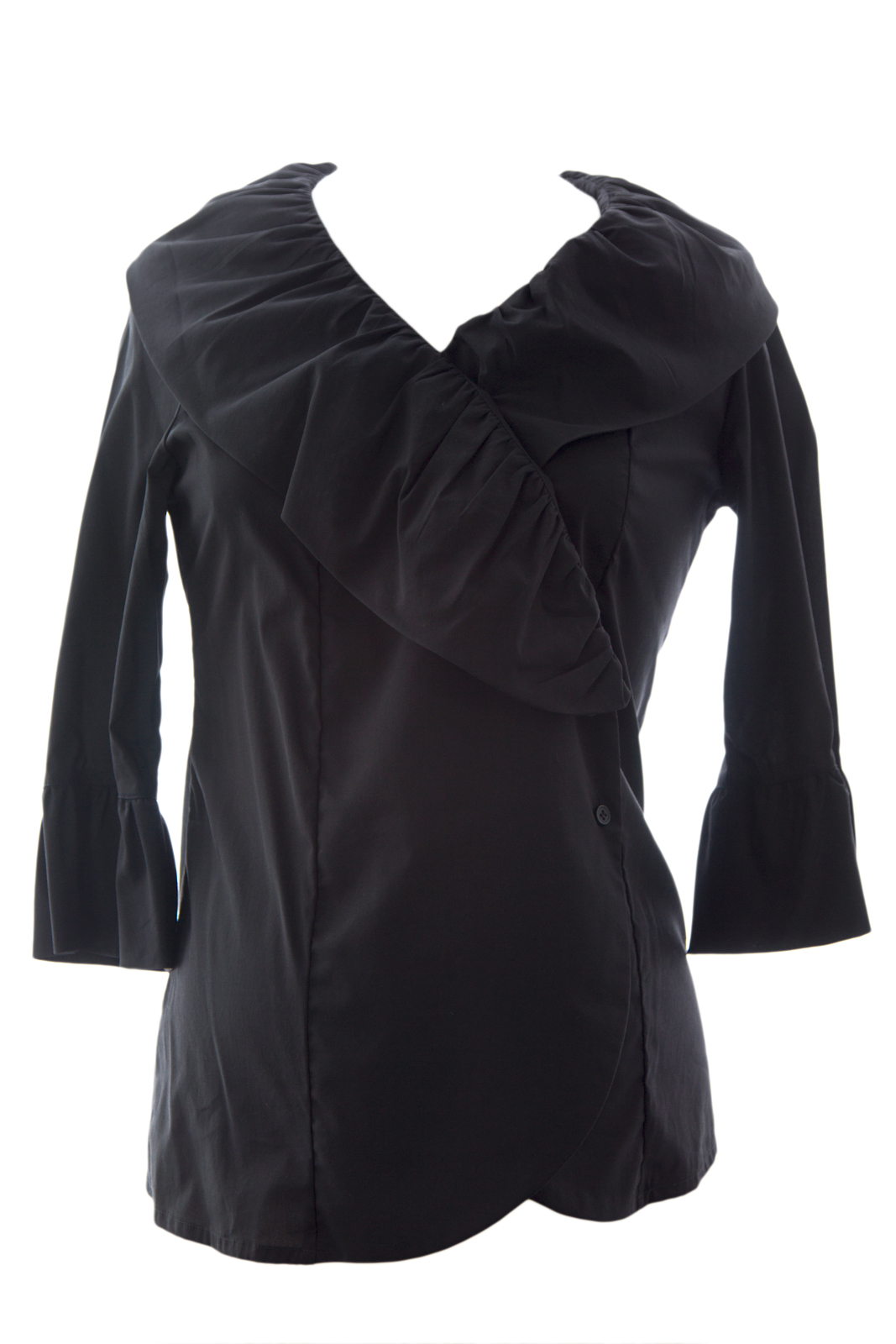 OLIAN Maternity Women's Ruffled Front 3/4 Sleeve Wrap Top