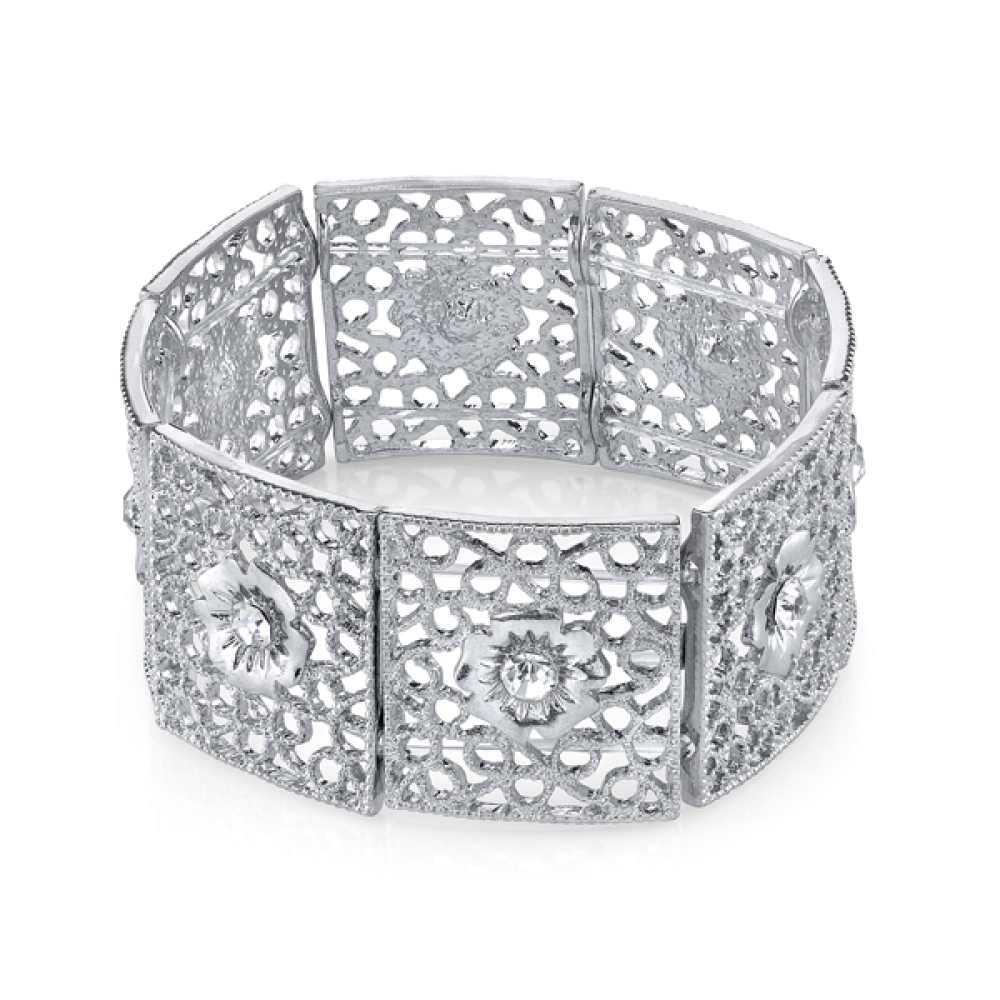 1928 Jewelry Womens Crystal Silver-Toned Crystal Filigree Stretch Bracelet NEW