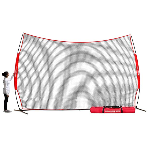Powernet 16 Ft X 10 Ft Sports Barrier Net 160 Sqft Of Protection Safety Backstop Portable Ez Setup Barricade For Baseball Lacrosse Basketball Soccer Field Hockey Softball Walmart Com Walmart Com