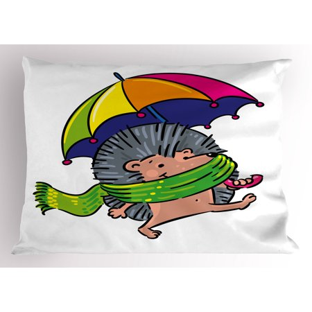 Hedgehog Pillow Sham Smiling Animal with Spikes and Scarf Rainbow Colored Umbrella Walking Winter Theme, Decorative Standard Size Printed Pillowcase, 26 X 20 Inches, Multicolor, by