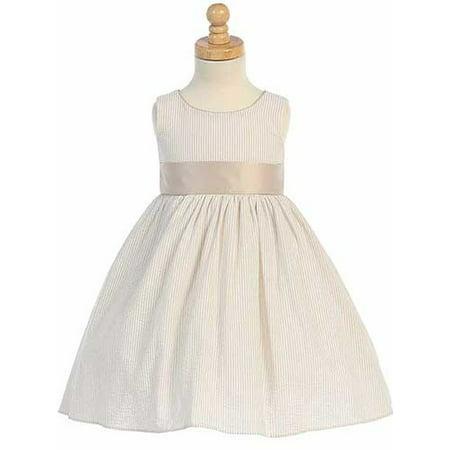 Khaki Striped Seersucker Sash Easter Dress Little Girls 9M-12