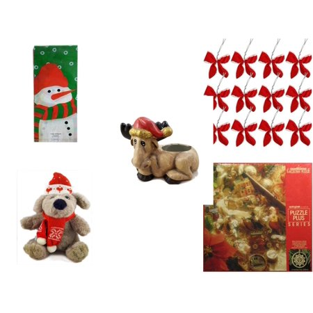 Christmas Fun Gift Bundle [5 Piece] - Assorted  Cello Bags With Ties - Set of 12 Red Velvet White Trim Wire Bows - Creation House Co., LTD Sad  Moose Planter - Soft & Cuddly  Dog Sitting  12