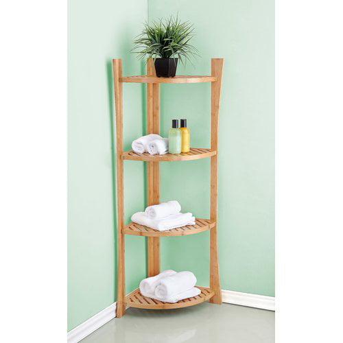 Best Living Bamboo 4-Tier Corner Shelf
