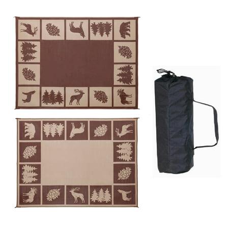 - Reversible Mats 6'x 9' RV Patio Garden Wilderness Mat, BRN/BG