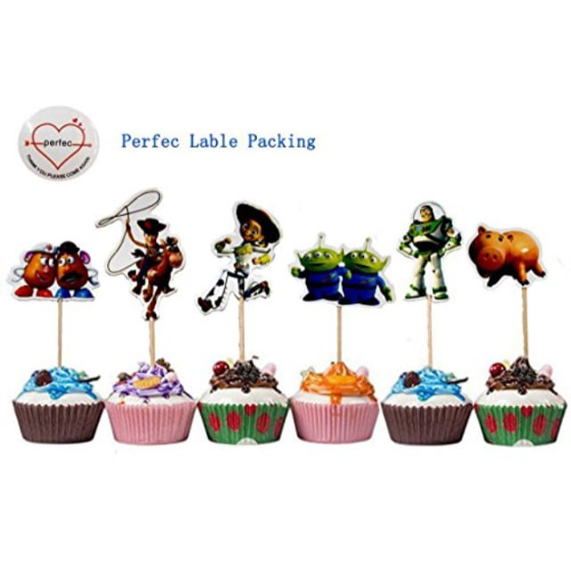 Betop House Set of 24 Pieces Toy Story Themed Decorative Cupcake Topper for Kids Birthday Party Baby Shower