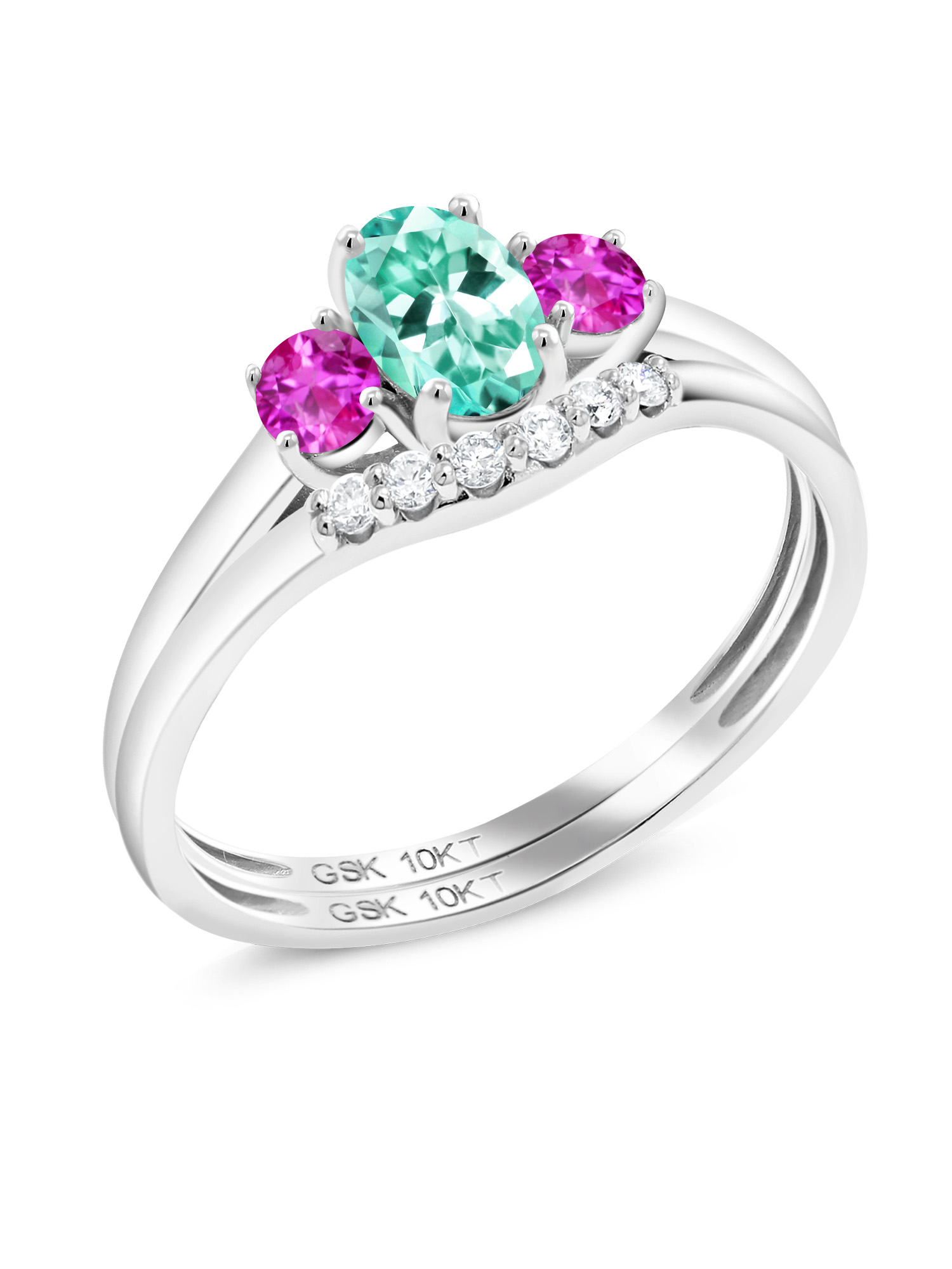 0.84 Ct Oval Blue Apatite Pink Sapphire 10K White Gold Lab Grown Diamond Ring by