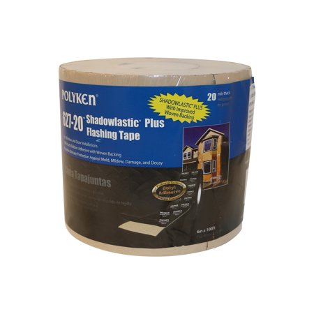 Polyken 627-20 Shadowlastic Plus Window & Door Flashing Tape: 6 in. x 100 ft. (Black / With