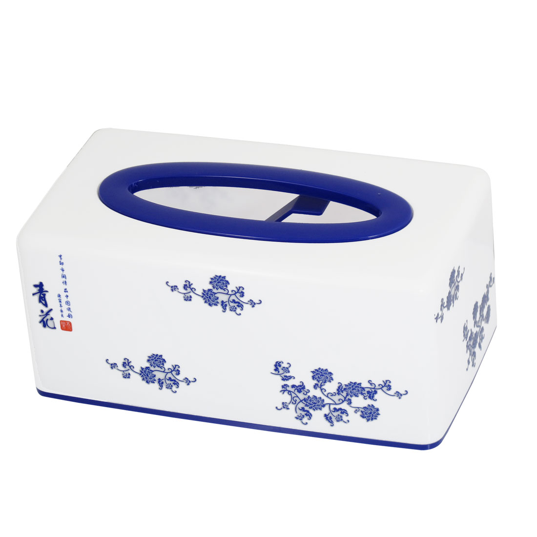 Office Ornament Two Elastic Support Inner White Blue Tissue Box