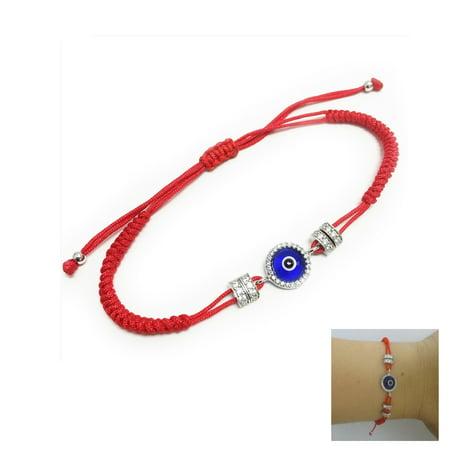 Hamsa Evil Eye Sterling Silver 925 Bracelet Crystal Red String Charm Protection ()