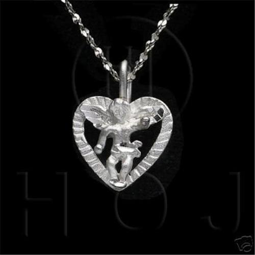 Doma Jewellery MAS04745 Sterling Silver -DiamondCut Religious Charm Heart Angel C4421
