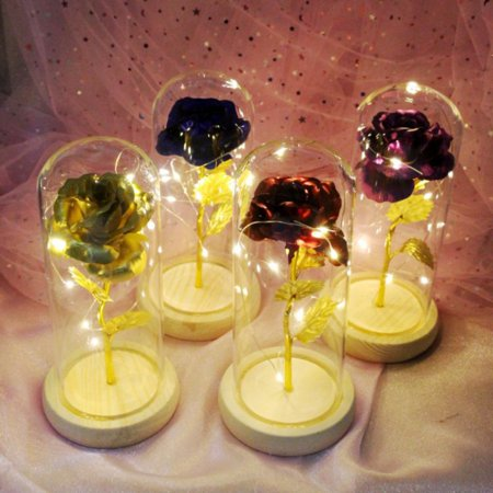 Artificial 24K Gold Plating Rose Flower in a Glass Dome with LED Light String On Wooden Base The Best Gift for Valentine's Day, Mother's Day, Anniversary, Wedding, Birthday (Batteries