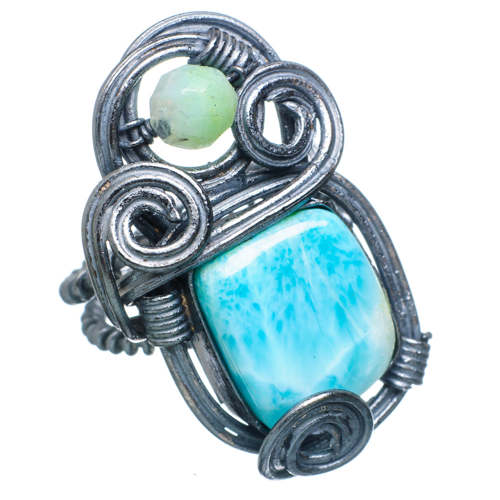 Ana Silver Co Large Rare Larimar, Chrysoprase Oxidized 925 Sterling Silver Ring Size 7.5 RING785101 by Ana Silver Co.