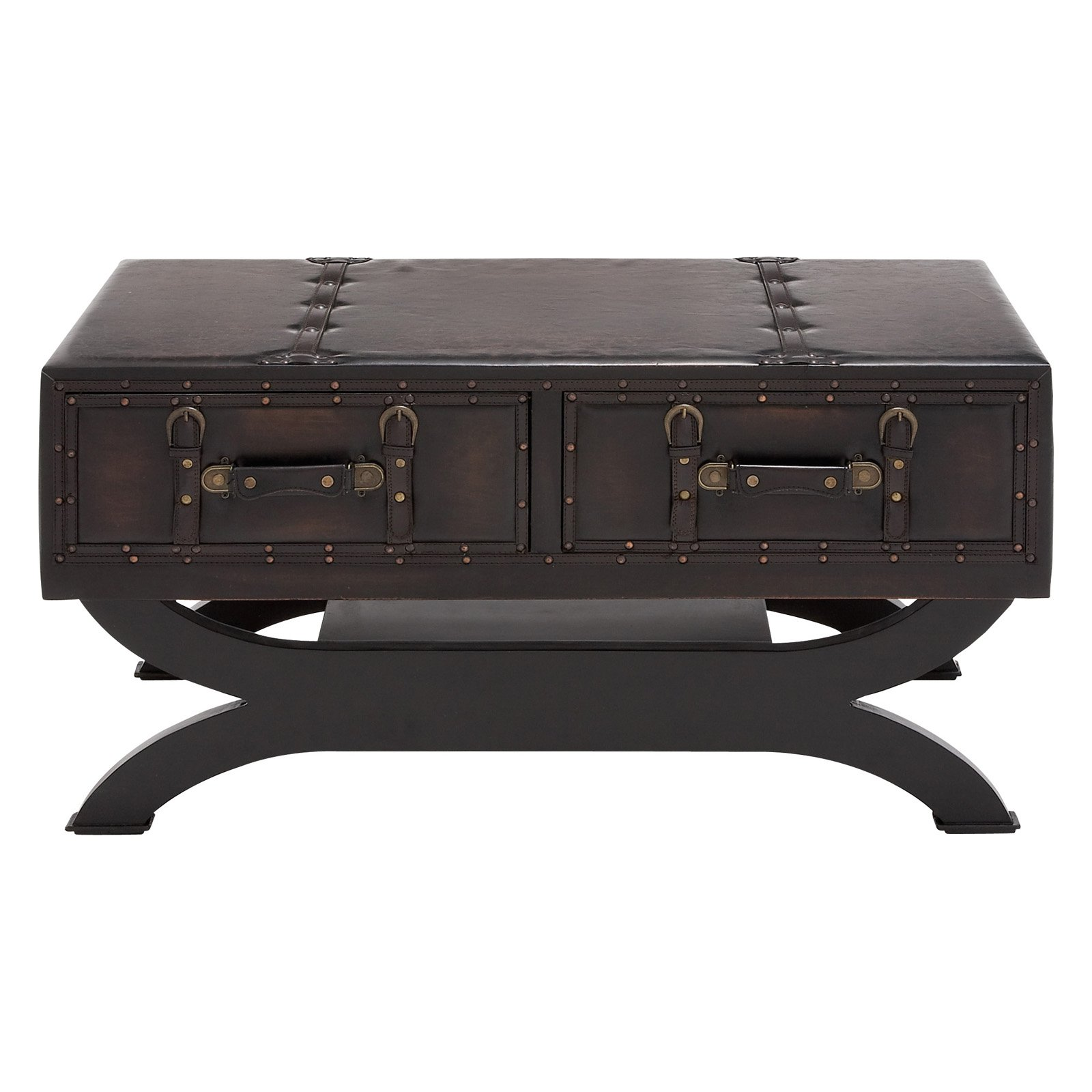 Benzara The Classy Wood Leather Coffee Table